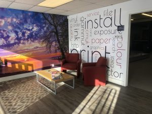 vinyl wall murals and graphics for office lobby