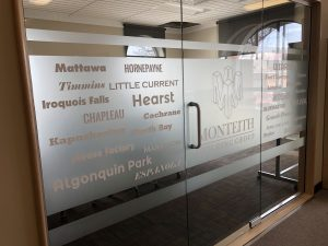 custom frosted vinyl door lettering